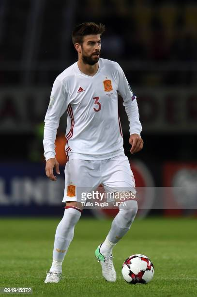 Gerard Pique of Spain in action during the FIFA 2018 World Cup Qualifier between FYR Macedonia and Spain at Nacional Arena Filip II Makedonski on...