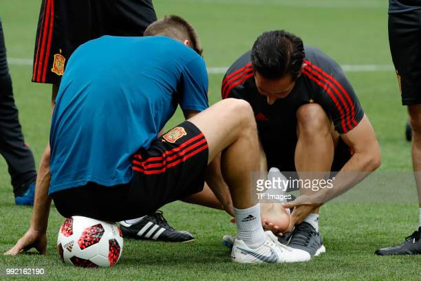 Gerard Pique of Spain injured during a training session on June 30 2018 in Moscow Russia