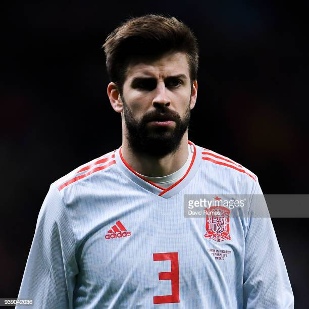 Gerard Pique of Spain looks on during an International friendly match between Spain and Argentina at the Wanda Metropolitano stadium on March 27 2018...