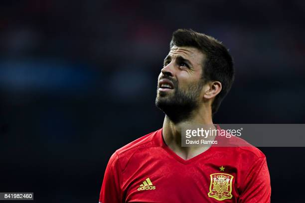 Gerard Pique of Spain looks on during the FIFA 2018 World Cup Qualifier between Spain and Italy at Estadio Santiago Bernabeu on September 2 2017 in...