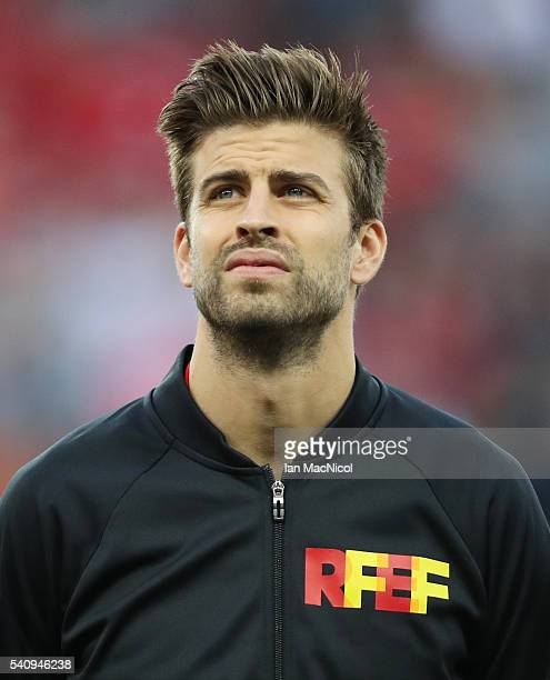 Gerard Pique of Spain looks on during the UEFA EURO 2016 Group D match between Spain and Turkey at Allianz Riviera Stadium on June 17 2016 in Nice...