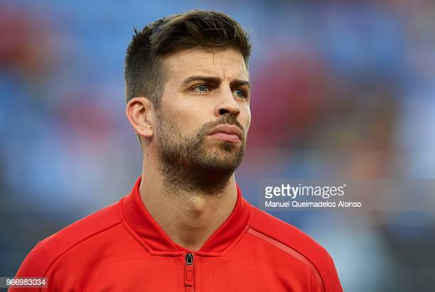 Gerard Pique of Spain looks on prior to the International Friendly match between Spain and Switzerland at Estadio de La Ceramica on June 3 2018 in...