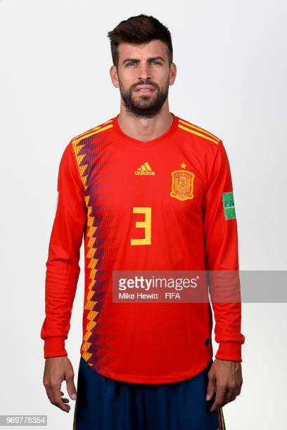 Gerard Pique of Spain poses for a portrait during the official FIFA World Cup 2018 portrait session at FC Krasnodar Academy on June 8 2018 in...