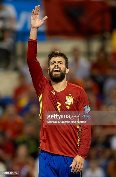 Gerard Pique of Spain reacts during the FIFA 2018 World Cup Qualifier between Spain and Albania at Rico Perez Stadium on October 6 2017 in Alicante...