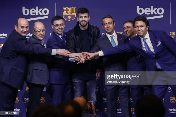 Gerard Pique Vice president of the Koc Holding administration council Ali Koc and FC Barcelona's Chairman Josep Maria Bartomeu attend the press...