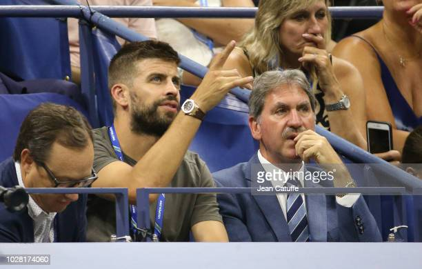 Gerard Pique, who as CEO of Kosmos just bought the rights for the future Davis Cup, ITF President David Haggerty attend the women's semi-finals on...