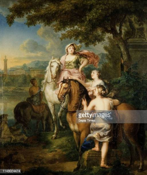 Gerard Sanders The flight of Cloelia over the Tiber painting footage wood oil Cloelia on horseback plus two other hostages On the right in the...