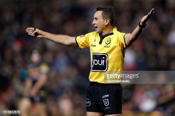 Gerard Sutton referees during the round seven NRL match between the Penrith Panthers and the Newcastle Knights at BlueBet Stadium, on April 22, 2021...