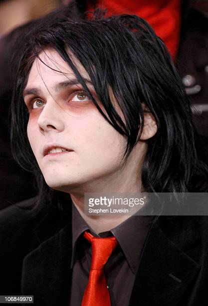 Gerard Way of My Chemical Romance during Jesse McCartney My Chemical Romance and Rick Gonzalez Visit MTV's TRL January 17th 2005 at MTV Studios in...