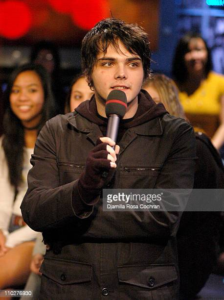 Gerard Way of My Chemical Romance during Mike Shinoda Emmanuelle Chriqui and My Chemical Romance Visit Fuse's Daily Download November 22 2005 at Fuse...