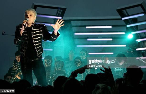 Gerard Way of My Chemical Romance performs at the Top of the Rock in Rockefeller Plaza during the 2006 MTV Video Music Awards at Radio City Music...