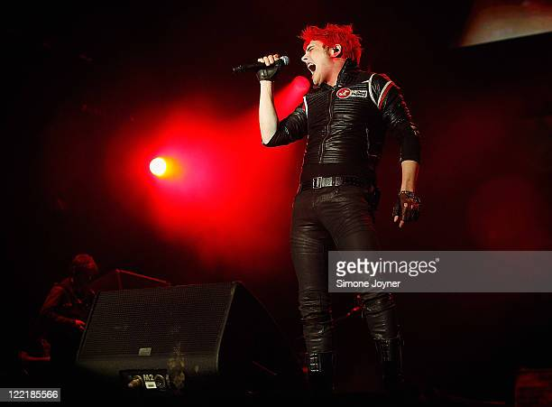 Gerard Way of My Chemical Romance performs live on the Main Stage during day one of Reading Festival 2011 on August 26 2011 in Reading England