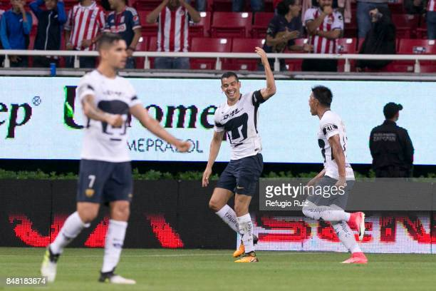 Gerardo Alcoba of Pumas celebrates after scoring the first goal of his team during the 9th round match between Chivas and Pumas UNAM as part of the...