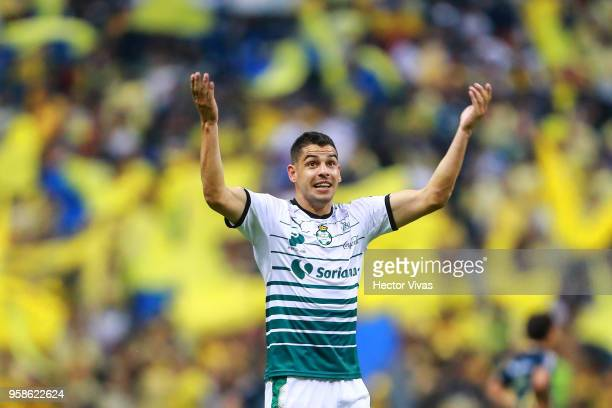 Gerardo Alcoba of Santos Laguna celebrates the second goal of his team during the semifinals second leg match between America and Santos Laguna as...