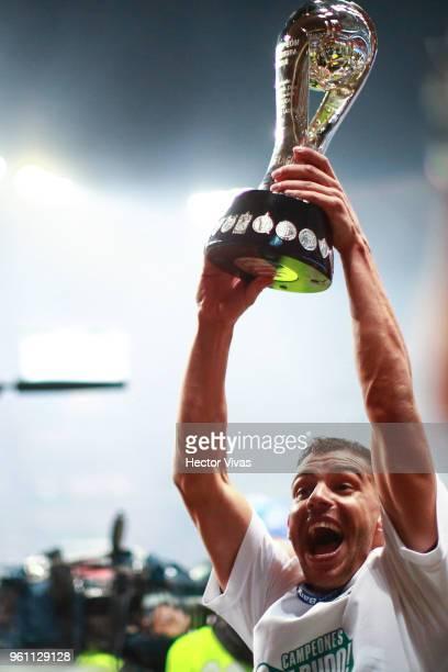Gerardo Alcoba of Santos Laguna celebrates with the Championship Trophy after the Final second leg match between Toluca and Santos Laguna as part of...