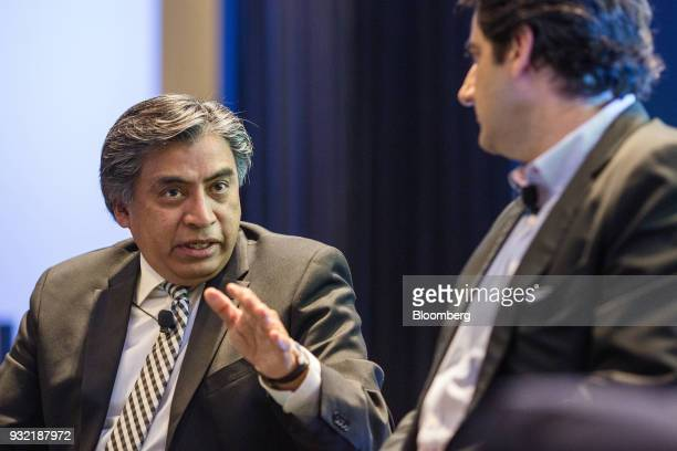 Gerardo Esquivel economic advisor for the presidential campaign of Andres Manuel Lopez left speaks during the Bloomberg FX18 Summit in Mexico City...