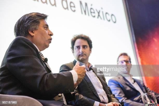 Gerardo Esquivel economic advisor for the presidential campaign of Andres Manuel Lopez left speaks as Luis Madrazo economic and public policies...