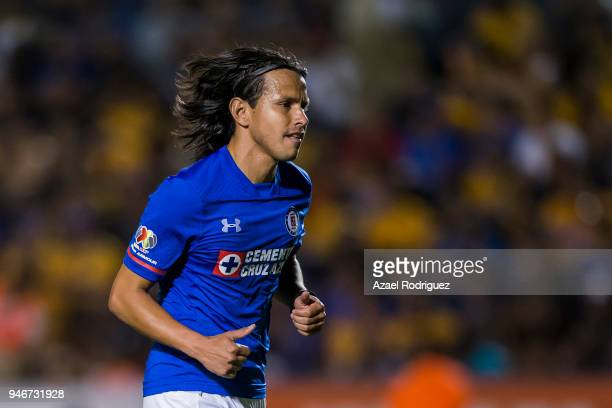 Gerardo Flores of Cruz Azul leaves the field after receiving a red card during the 15th round match between Tigres UANL and Cruz Azul as part of the...