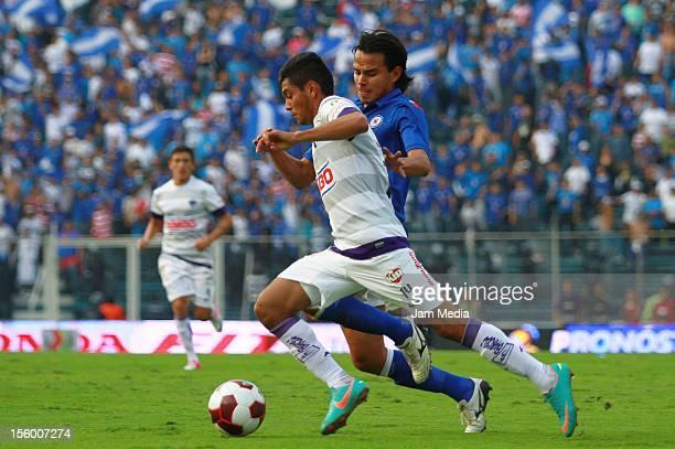 Gerardo Flores of Cruz Azul struggles for the ball with Jesus Corona of Monterrey during the Apertura 2012 Liga MX at Azul Stadium on november 10...
