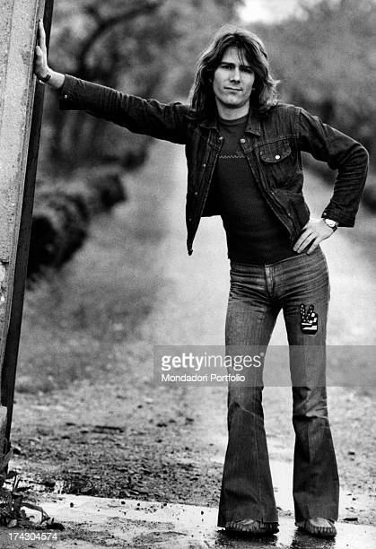 Gerardo Manzoli known as Gerry belonging to the Italian melodic rock band I Camaleonti is posing with his right hand leant against a wall the...