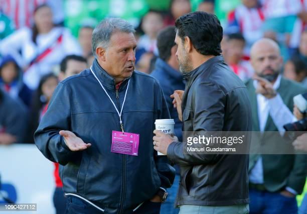 Gerardo Martino coach of Mexico and Alejandro Irarragorri talk prior the 4th round match between Santos Laguna and Chivas as part of the Torneo...