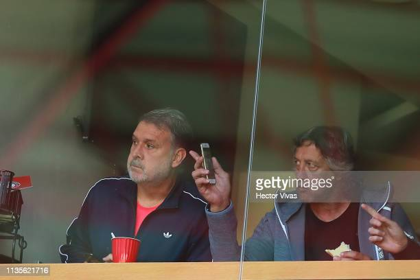 Gerardo Martino coach of Mexico looks on during the 13th round match between Toluca and Monterrey as part of the Torneo Clausura 2019 Liga MX at...