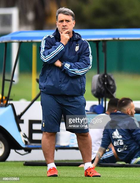 Gerardo Martino head coach of Argentina gestures during a training session at Argentine Football Association 'Julio Humberto Grondona' training camp...