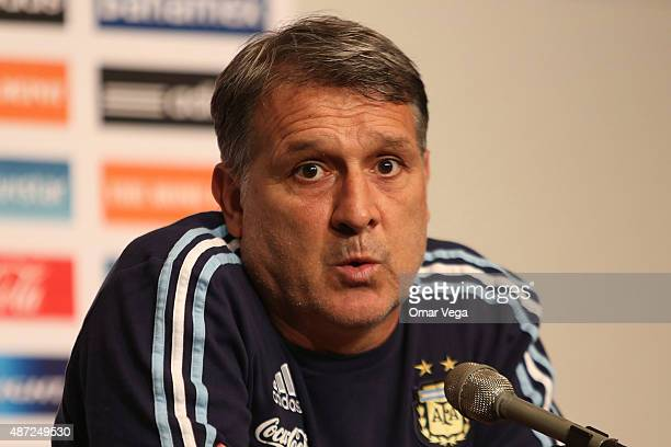 Gerardo Martino head coach of Argentina speaks during a press conference at ATT Stadium on September 07 2015 in Arlington United States