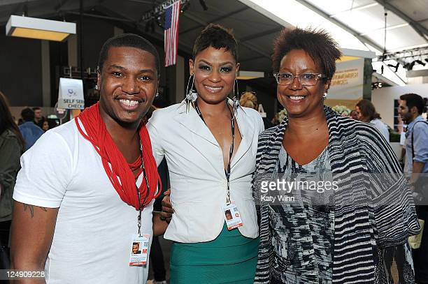Gerardo Mclean Rebecca Bristol and creative director of Ebony magazine Harriet Cole are seen around Lincoln Center during Spring 2012 MercedesBenz...