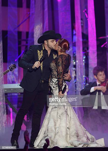 Gerardo Ortiz and Alejandra Guzman perform onstage at the Billboard Latin Music Awards at Bank United Center on April 28 2016 in Miami Florida