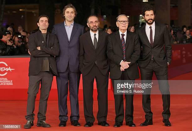 Gerardo Panich Giuseppe Tornatore Ennio Morricone and Francesco Scianna attend the 'Giuseppe Tornatore Ogni Film Un'Opera Prima' Premiere during the...