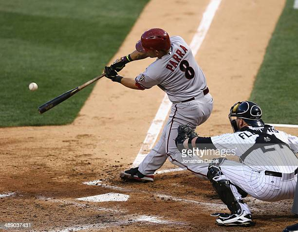 Gerardo Parra of the Arizona Diamondbacks hits a tworun home run in the 3rd inning in front of Tyler Flowers of the Chicago White Sox at US Cellular...