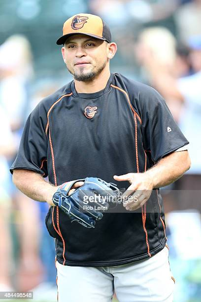 Gerardo Parra of the Baltimore Orioles takes batting practice before the game against the Seattle Mariners at Safeco Field on August 11 2015 in...