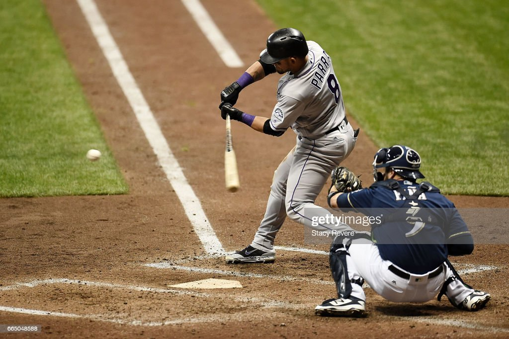 Gerardo Parra #8 of the Colorado Rockies swings at a pitch during the fourth inning of a game against the Milwaukee Brewers at Miller Park on April 5, 2017 in Milwaukee, Wisconsin.