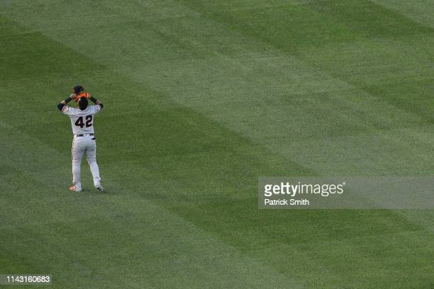 Gerardo Parra of the San Francisco Giants has a moment to himself before playing against the Washington Nationals at Nationals Park on April 16 2019...