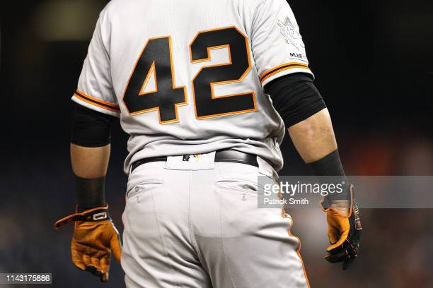 Gerardo Parra of the San Francisco Giants looks on against the Washington Nationals during the seventh inning at Nationals Park on April 16 2019 in...