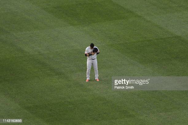 Gerardo Parra of the San Francisco Giants stands for the national anthem before playing against the Washington Nationals at Nationals Park on April...