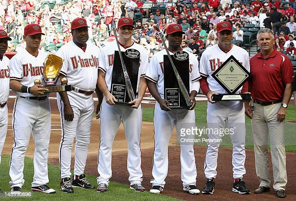 Gerardo Parra with Rawlings Gold Glove Award batting coach Don Baylor Daniel Hudson with National League Silver Slugger Award Justin Upton with...