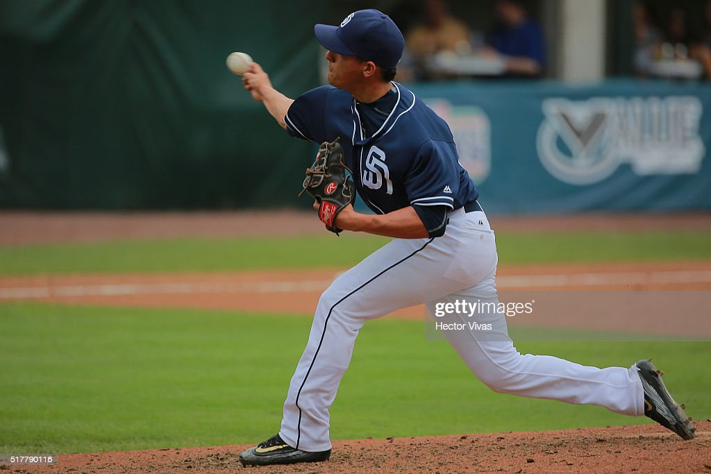 Gerardo Reyes #36 of San Diego Padres pitches during the preseason match between Houston Astros and San Diego Padres at Fray Nano Stadium on March 27, 2016 in Mexico City, Mexico.