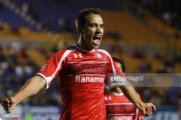 Gerardo Rodriguez of Toluca celebrates a scored goal against San Luis during a match between San Luis and Toluca as part of the Apertura 2012 Liga MX...