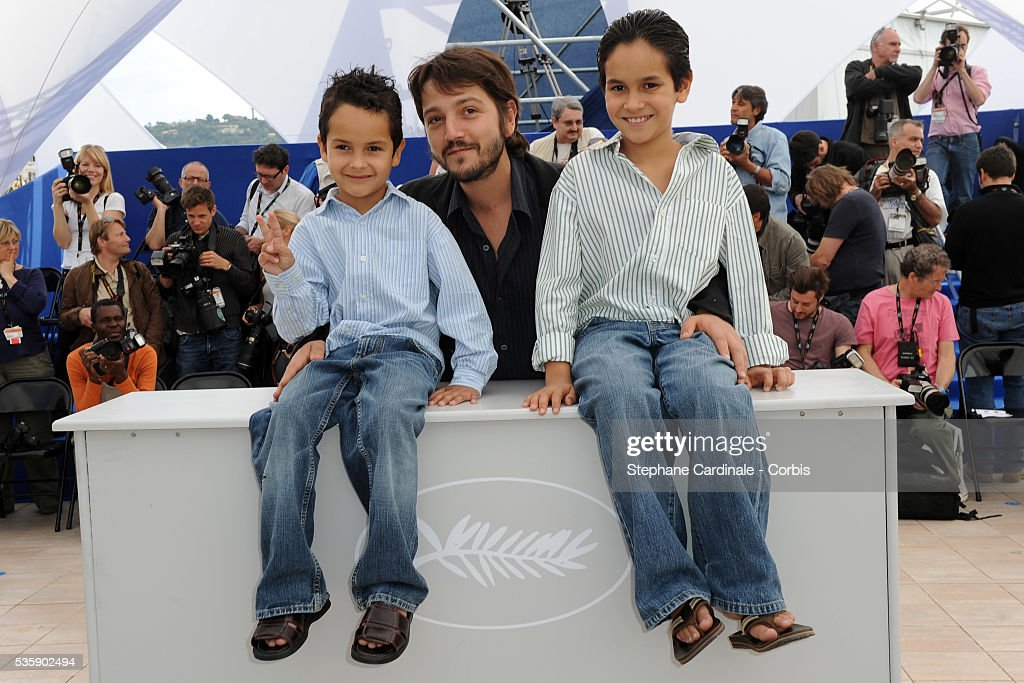 Gerardo Ruiz Esparza, Diego Luna and Christopher Ruiz Esparza at the photocall for 'Abel' during the 63rd Cannes International Film Festival.