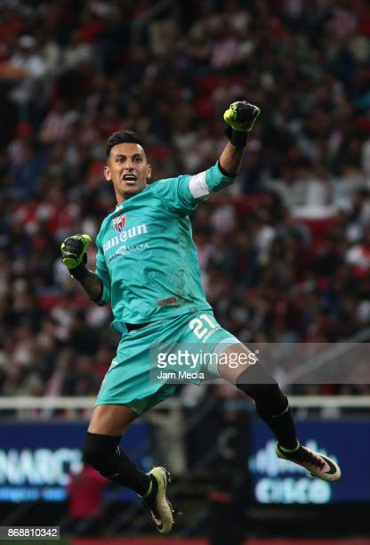 Gerardo Ruiz goalkeeper of Atlante celebrates after winning in the penalty series the quarter final match between Chivas and Atlante as part of the...