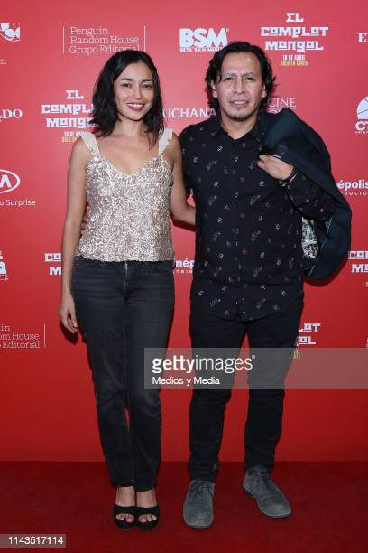 Gerardo Taracena and Iazua larios pose for photos at the red carpet prior the premiere of the film 'Complot Mongol' at Cinepolis Diana on April 17...