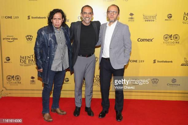 Gerardo Taracena Hernan Del Riego and guest attend the Mentada de Padre Mexico City premiere red carpet at Cinemax Antara Polanco on August 13 2019...