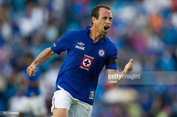 Gerardo Torrado of Cruz Azul celebrates a scored goal during a match between Cruz Azul and Pachuca as part of the Apertura 2012 Liga MX at Azul...