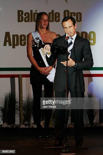 Gerardo Torrado of Cruz Azul gives his acceptance speech after receiving the Balon de Oro of best defensive midfielder during a soccer awards...