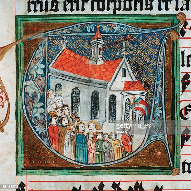 Geras Lower Austria Premonstratensian Monastery Monastery library Procession around the church Initial of an illuminated manuscript Photography by...