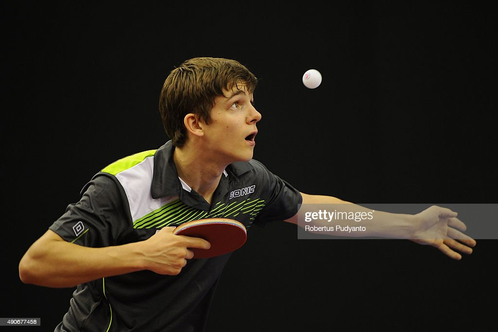 Gerassimenko Kirill of Kazkhstan competes against Chang Hoi Wa of Macau during Men's singles first round match of the 22nd 2015 ITTF Asian Table Tennis Championships at Pattaya Sports Indoor Stadium on September 30, 2015 in Pattaya, Thailand.