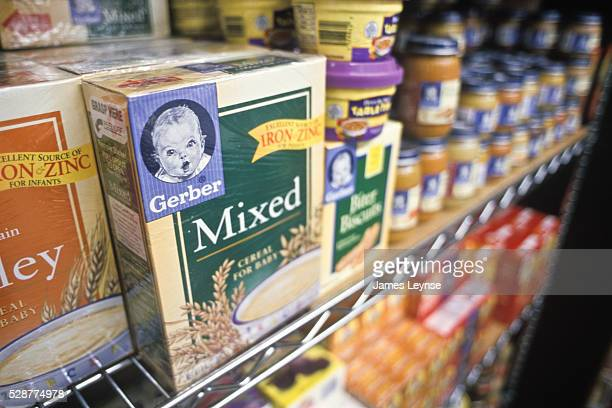 Gerber baby food and cereal for sale at a New Jersey Shoprite supermarket