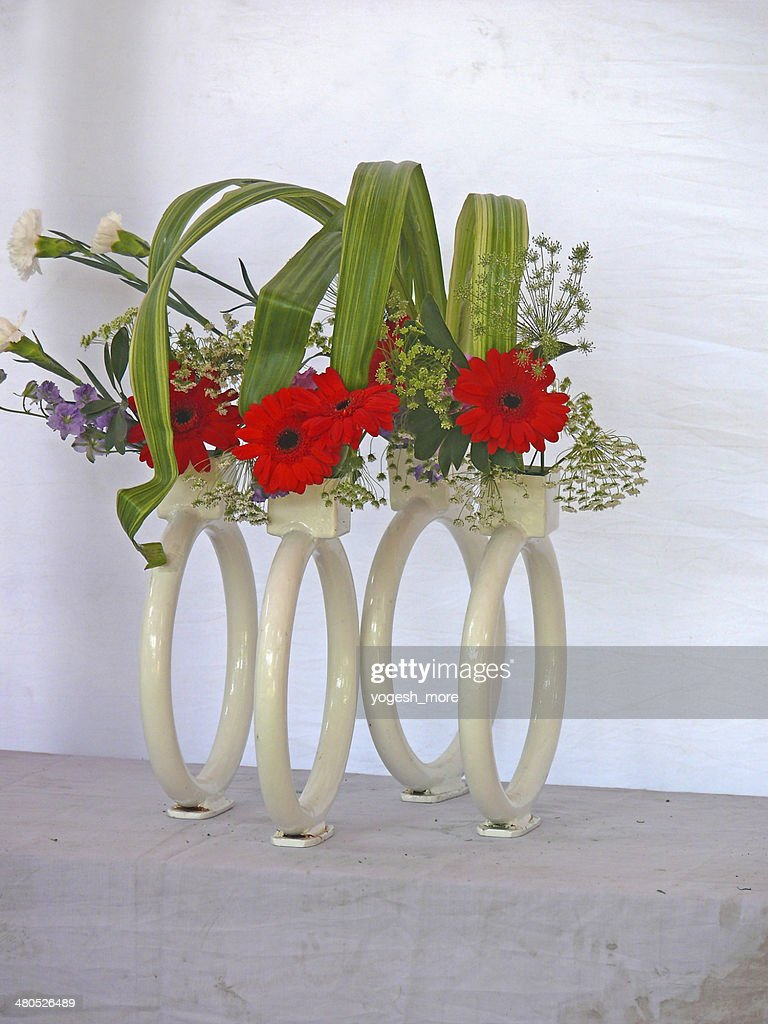 Gerbera flowers, Gerbera jamesonii, flower arrangement : Stock Photo